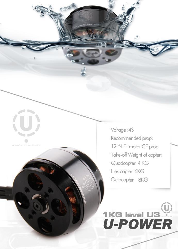 Bürstenloser Motor U3 Power KV700 3-4S 97g TIGER MOTOR Brushless Copter Kopter